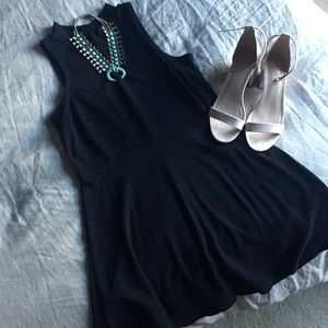 Mock neck tank dress, fit and flare